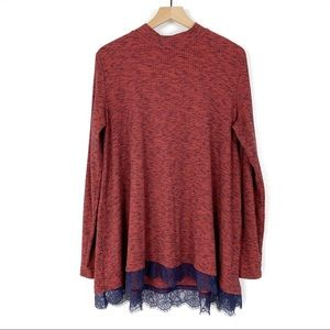 LOGO Lori Goldstein Ribbed Tunic W/Lace Hem Size L